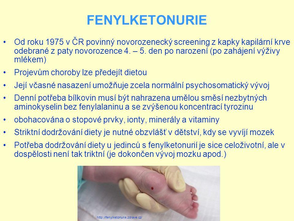 Od roku 1975 v ČR povinný novorozenecký screening z kapky kapilární krve odebrané z paty novorozence 4. – 5. den po narození (po zahájení výživy mléke