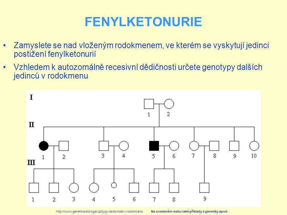 Zamyslete se nad vloženým rodokmenem, ve kterém se vyskytují jedinci postižení fenylketonurií Vzhledem k autozomálně recesivní dědičnosti určete genot