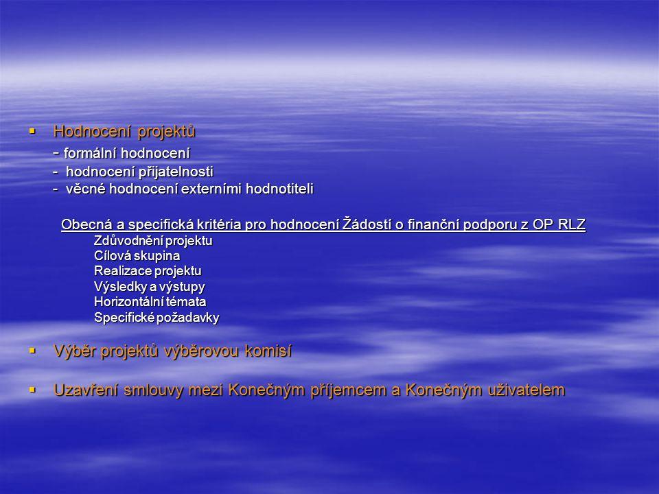  Hodnocení projektů - formální hodnocení - hodnocení přijatelnosti - věcné hodnocení externími hodnotiteli Obecná a specifická kritéria pro hodnocení Žádostí o finanční podporu z OP RLZ Obecná a specifická kritéria pro hodnocení Žádostí o finanční podporu z OP RLZ Zdůvodnění projektu Cílová skupina Realizace projektu Výsledky a výstupy Horizontální témata Specifické požadavky  Výběr projektů výběrovou komisí  Uzavření smlouvy mezi Konečným příjemcem a Konečným uživatelem