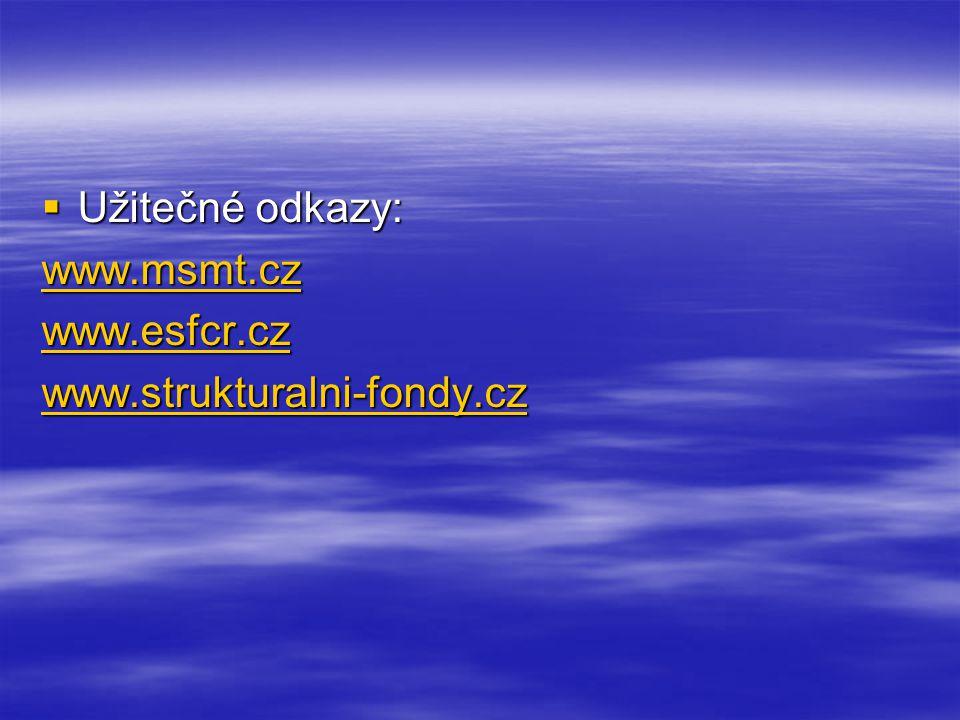  Užitečné odkazy: www.msmt.cz www.esfcr.cz www.strukturalni-fondy.cz