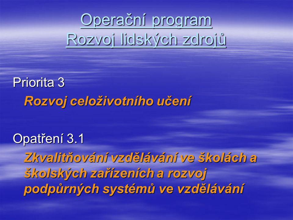 Operační program Rozvoj lidských zdrojů Priorita 3 Rozvoj celoživotního učení Opatření 3.1 Zkvalitňování vzdělávání ve školách a školských zařízeních a rozvoj podpůrných systémů ve vzdělávání