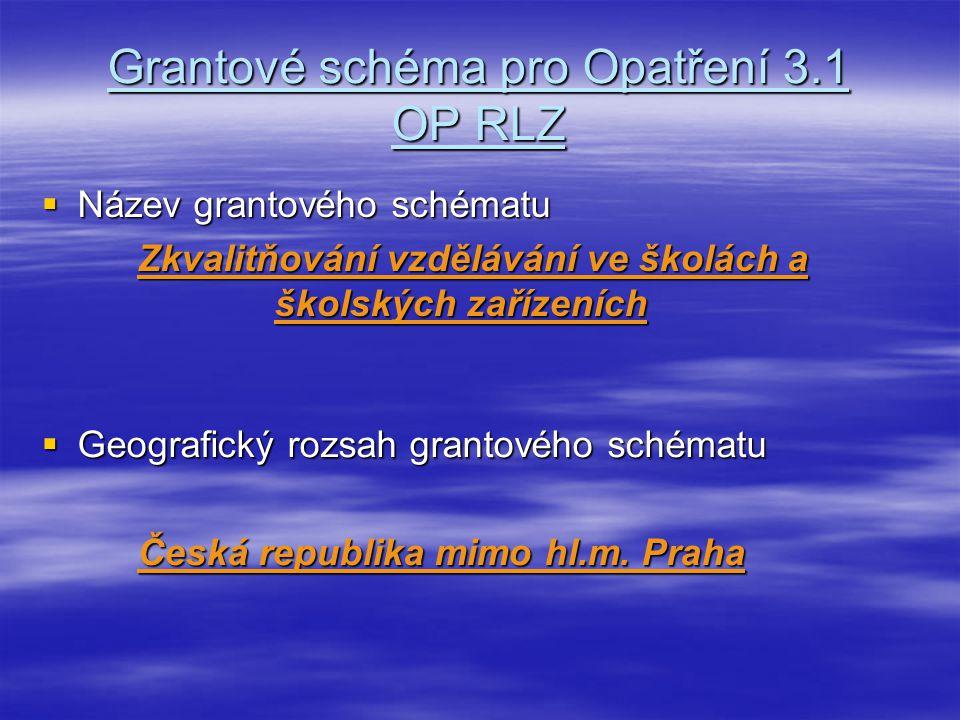 Grantové schéma pro Opatření 3.1 OP RLZ  Název grantového schématu Zkvalitňování vzdělávání ve školách a školských zařízeních  Geografický rozsah grantového schématu Česká republika mimo hl.m.