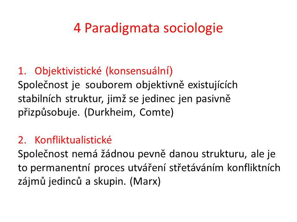 4 Paradigmata sociologie 1.Objektivistické (konsensuáln í) Společnost je souborem objektivně existujících stabilních struktur, jimž se jedinec jen pasivně přizpůsobuje.