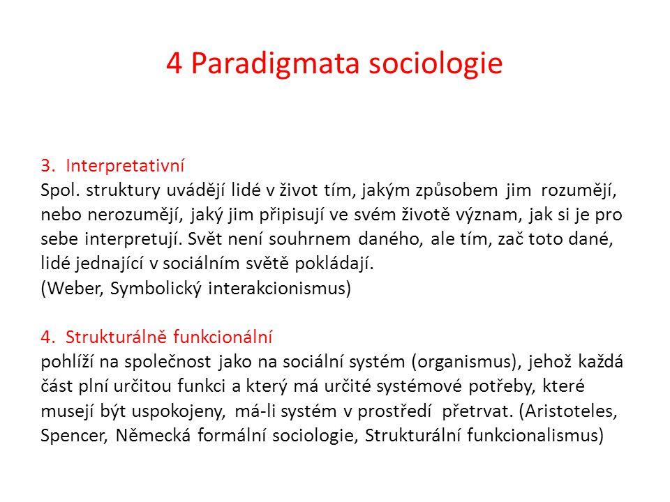 4 Paradigmata sociologie 3.Interpretativní Spol. struktury uvádějí lidé v život tím, jakým způsobem jim rozumějí, nebo nerozumějí, jaký jim připisují