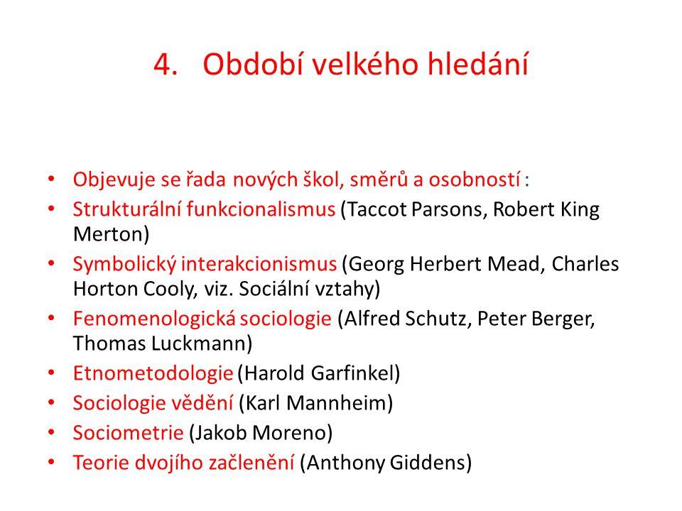 4. Období velkého hledání Objevuje se řada nových škol, směrů a osobností : Strukturální funkcionalismus (Taccot Parsons, Robert King Merton) Symbolic