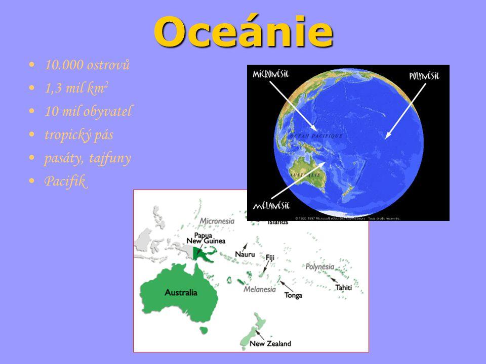Oceánie 10.000 ostrovů 1,3 mil km 2 10 mil obyvatel tropický pás pasáty, tajfuny Pacifik