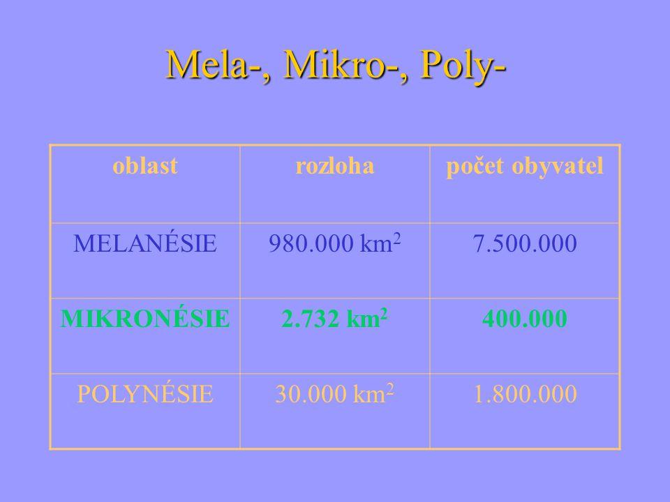 Mela-, Mikro-, Poly- oblastrozlohapočet obyvatel MELANÉSIE980.000 km 2 7.500.000 MIKRONÉSIE2.732 km 2 400.000 POLYNÉSIE30.000 km 2 1.800.000