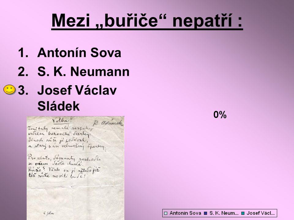 "Mezi ""buřiče"" nepatří : 1.Antonín Sova 2.S. K. Neumann 3.Josef Václav Sládek"