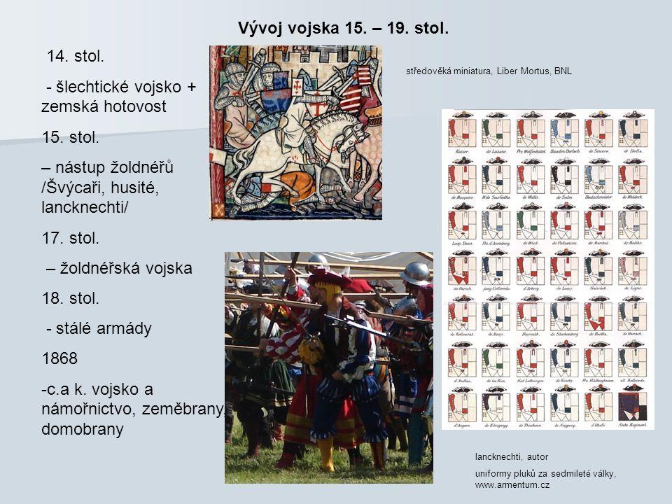 Vývoj vojska 15. – 19. stol. 14. stol. - šlechtické vojsko + zemská hotovost 15. stol. – nástup žoldnéřů /Švýcaři, husité, lancknechti/ 17. stol. – žo