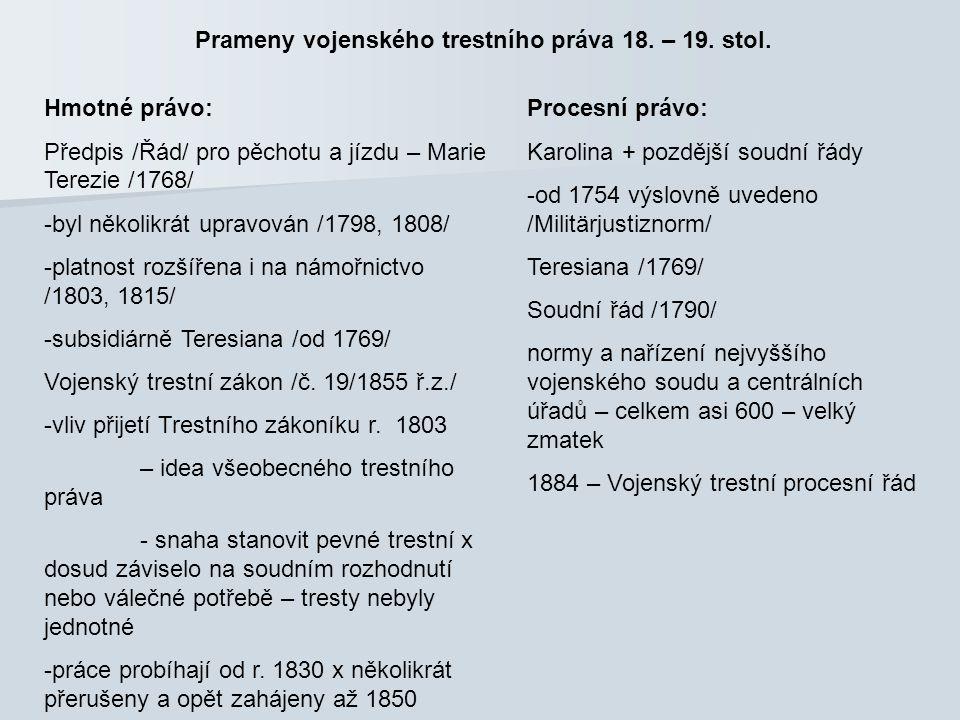 Prameny vojenského trestního práva v 1.pol. 20. stol.