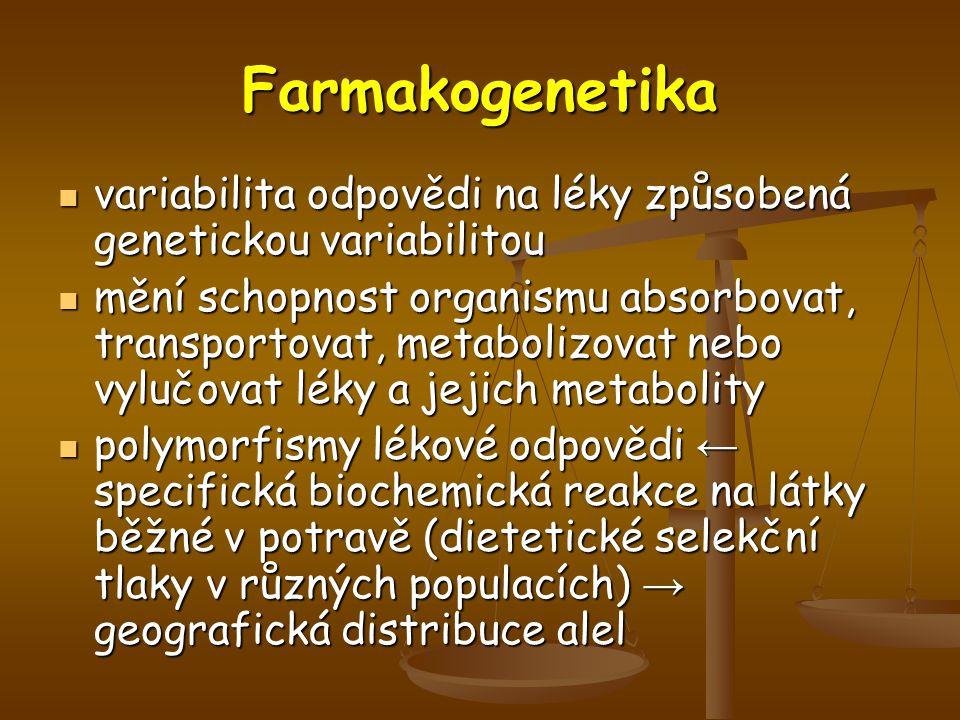 Farmakogenetika variabilita odpovědi na léky způsobená genetickou variabilitou variabilita odpovědi na léky způsobená genetickou variabilitou mění schopnost organismu absorbovat, transportovat, metabolizovat nebo vylučovat léky a jejich metabolity mění schopnost organismu absorbovat, transportovat, metabolizovat nebo vylučovat léky a jejich metabolity polymorfismy lékové odpovědi ← specifická biochemická reakce na látky běžné v potravě (dietetické selekční tlaky v různých populacích) → geografická distribuce alel polymorfismy lékové odpovědi ← specifická biochemická reakce na látky běžné v potravě (dietetické selekční tlaky v různých populacích) → geografická distribuce alel