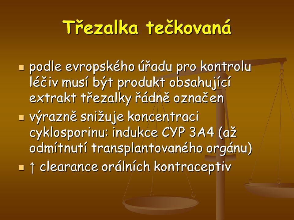 podle evropského úřadu pro kontrolu léčiv musí být produkt obsahující extrakt třezalky řádně označen podle evropského úřadu pro kontrolu léčiv musí být produkt obsahující extrakt třezalky řádně označen výrazně snižuje koncentraci cyklosporinu: indukce CYP 3A4 (až odmítnutí transplantovaného orgánu) výrazně snižuje koncentraci cyklosporinu: indukce CYP 3A4 (až odmítnutí transplantovaného orgánu) ↑ clearance orálních kontraceptiv ↑ clearance orálních kontraceptiv