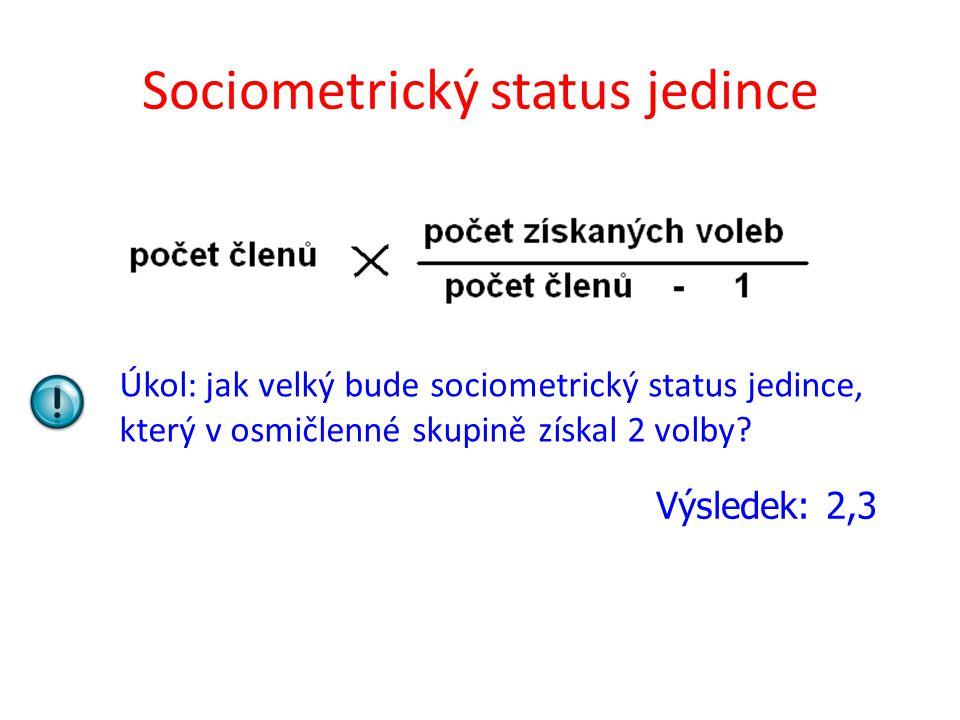 Sociometrický status jedince Úkol: jak velký bude sociometrický status jedince, který v osmičlenné skupině získal 2 volby? Výsledek: 2,3