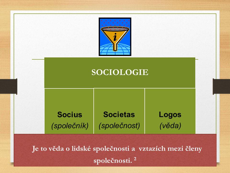 SOCIOLOGIE Socius (společník) Societas (společnost) Logos (věda) Je to věda o lidské společnosti a vztazích mezi členy společnosti. 2