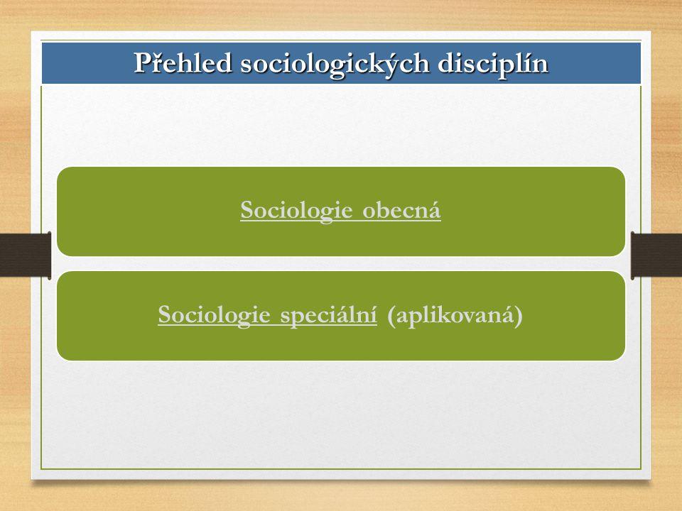 Sociologie obecnáSociologie speciální (aplikovaná) Přehled sociologických disciplín