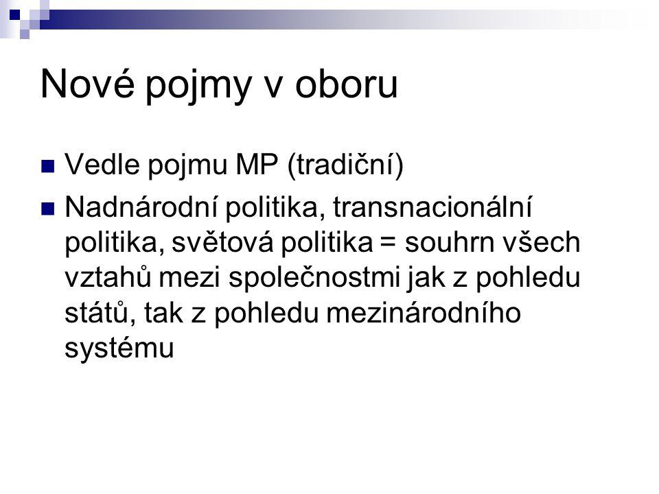 Nové pojmy v oboru Vedle pojmu MP (tradiční) Nadnárodní politika, transnacionální politika, světová politika = souhrn všech vztahů mezi společnostmi j