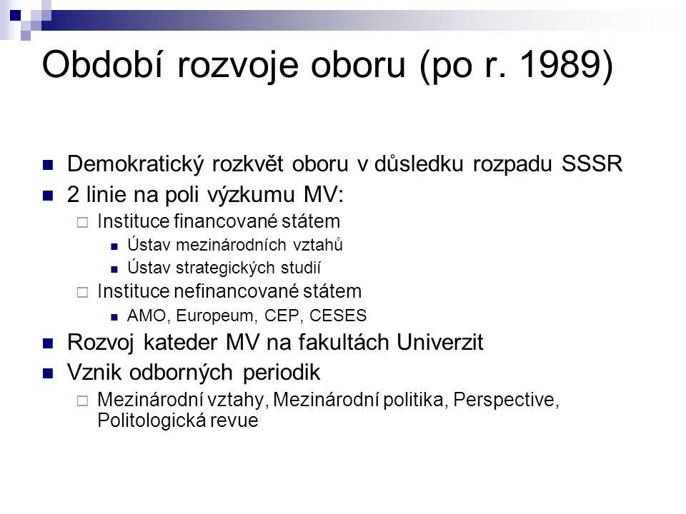 Období rozvoje oboru (po r. 1989) Demokratický rozkvět oboru v důsledku rozpadu SSSR 2 linie na poli výzkumu MV:  Instituce financované státem Ústav