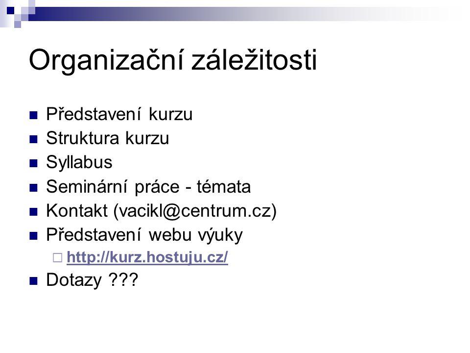 Organizační záležitosti Představení kurzu Struktura kurzu Syllabus Seminární práce - témata Kontakt (vacikl@centrum.cz) Představení webu výuky  http: