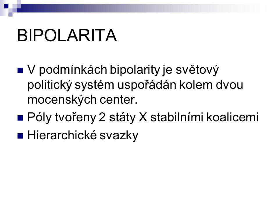 BIPOLARITA V podmínkách bipolarity je světový politický systém uspořádán kolem dvou mocenských center. Póly tvořeny 2 státy X stabilními koalicemi Hie