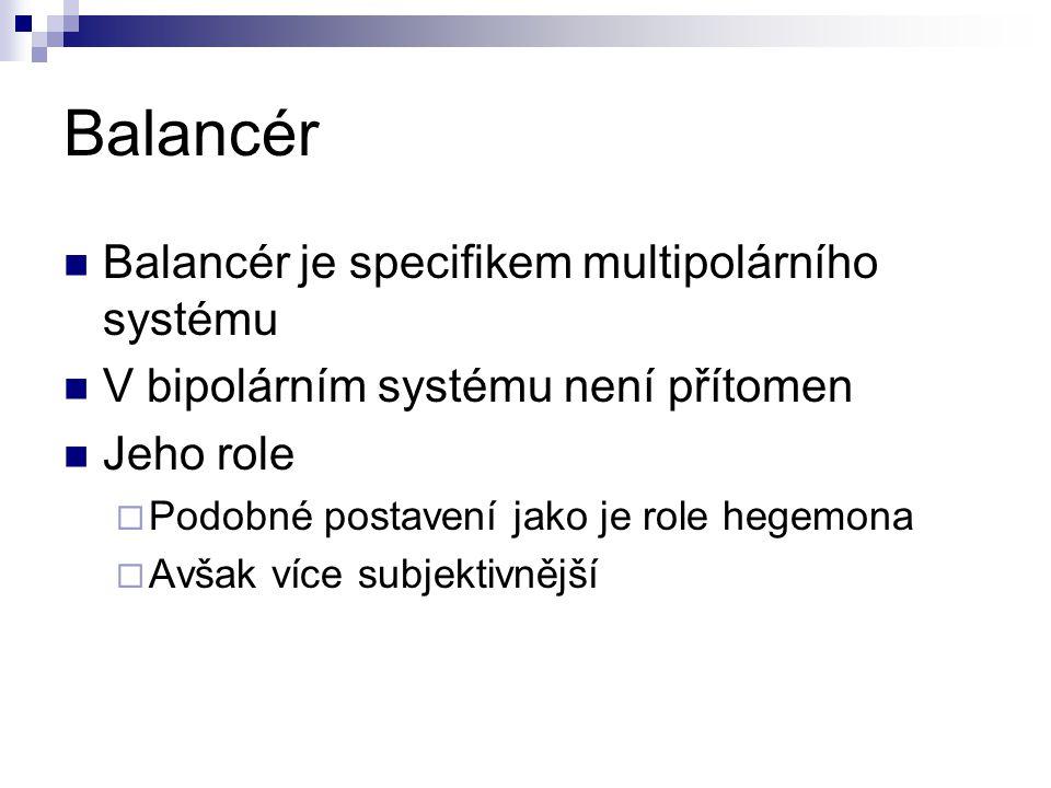 Balancér je specifikem multipolárního systému V bipolárním systému není přítomen Jeho role  Podobné postavení jako je role hegemona  Avšak více subj