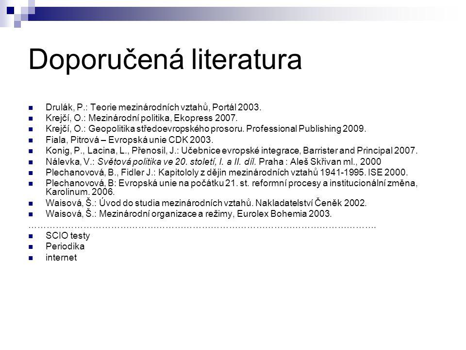 Doporučená literatura Drulák, P.: Teorie mezinárodních vztahů, Portál 2003. Krejčí, O.: Mezinárodní politika, Ekopress 2007. Krejčí, O.: Geopolitika s