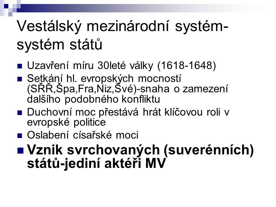 Vestálský mezinárodní systém- systém států Uzavření míru 30leté války (1618-1648) Setkání hl. evropských mocností (SŘŘ,Špa,Fra,Niz,Švé)-snaha o zameze