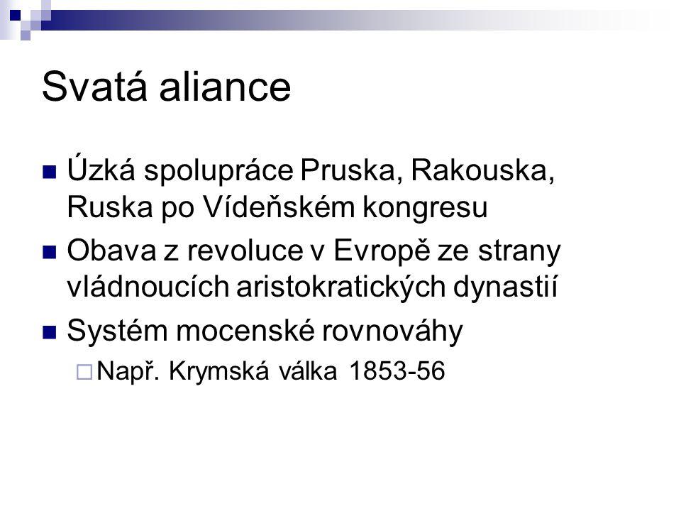 Svatá aliance Úzká spolupráce Pruska, Rakouska, Ruska po Vídeňském kongresu Obava z revoluce v Evropě ze strany vládnoucích aristokratických dynastií