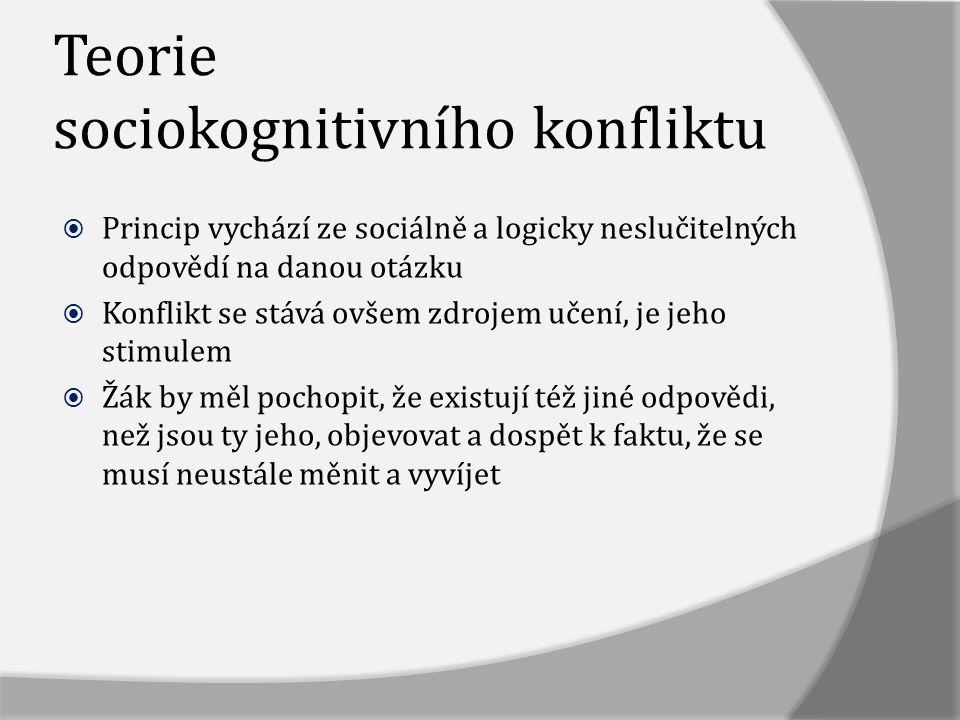 Teorie sociokognitivního konfliktu  Princip vychází ze sociálně a logicky neslučitelných odpovědí na danou otázku  Konflikt se stává ovšem zdrojem u