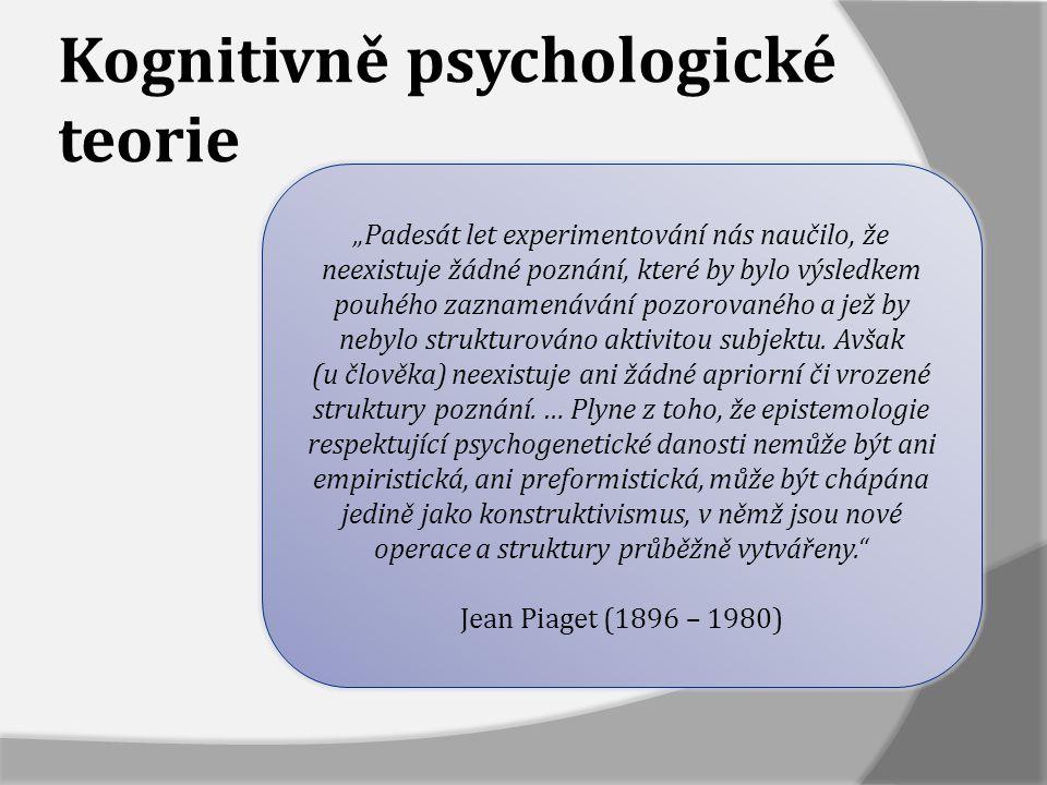 Kognitivně psychologické teorie  Žák zde své poznání aktivně konstruuje (konstruktivistická teorie)  Teorie akcentuje procesy učení a stav dosavadního poznání žáka  Osvojování poznatků je výsledkem vlastní kognitivní činnosti žáka, který konfrontuje nové informace se svými dosavadními poznatky (prekoncepty) a vytváří si nové souvislosti a významy  Úloha učitele v tomto procesu je zcela nezastupitelná, učí se však žák sám