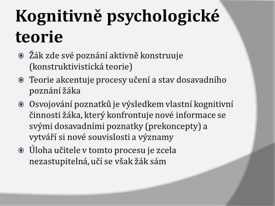Kognitivně psychologické teorie  Žák zde své poznání aktivně konstruuje (konstruktivistická teorie)  Teorie akcentuje procesy učení a stav dosavadní