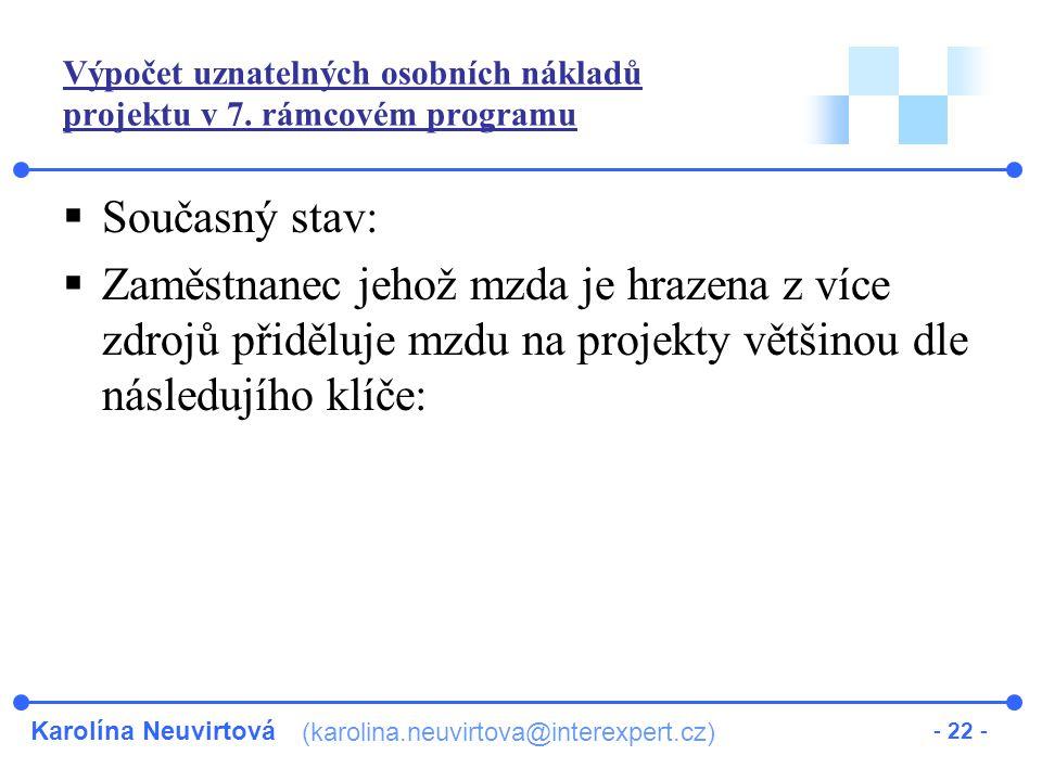 Karolína Neuvirtová (karolina.neuvirtova@interexpert.cz) - 22 - Výpočet uznatelných osobních nákladů projektu v 7.