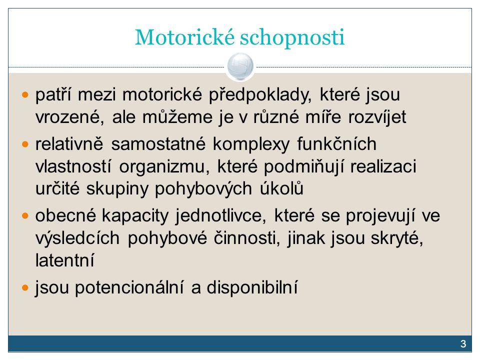 3 Motorické schopnosti patří mezi motorické předpoklady, které jsou vrozené, ale můžeme je v různé míře rozvíjet relativně samostatné komplexy funkční