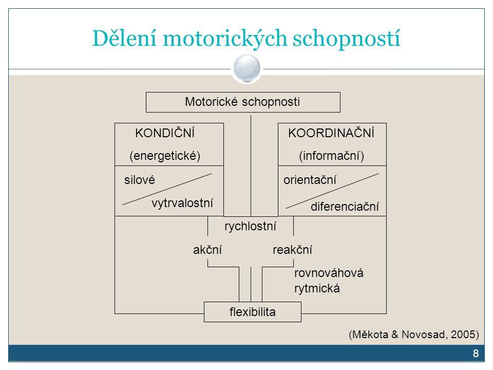 8 Dělení motorických schopností Motorické schopnosti KONDIČNÍ (energetické) KOORDINAČNÍ (informační) silové vytrvalostní orientační diferenciační rych