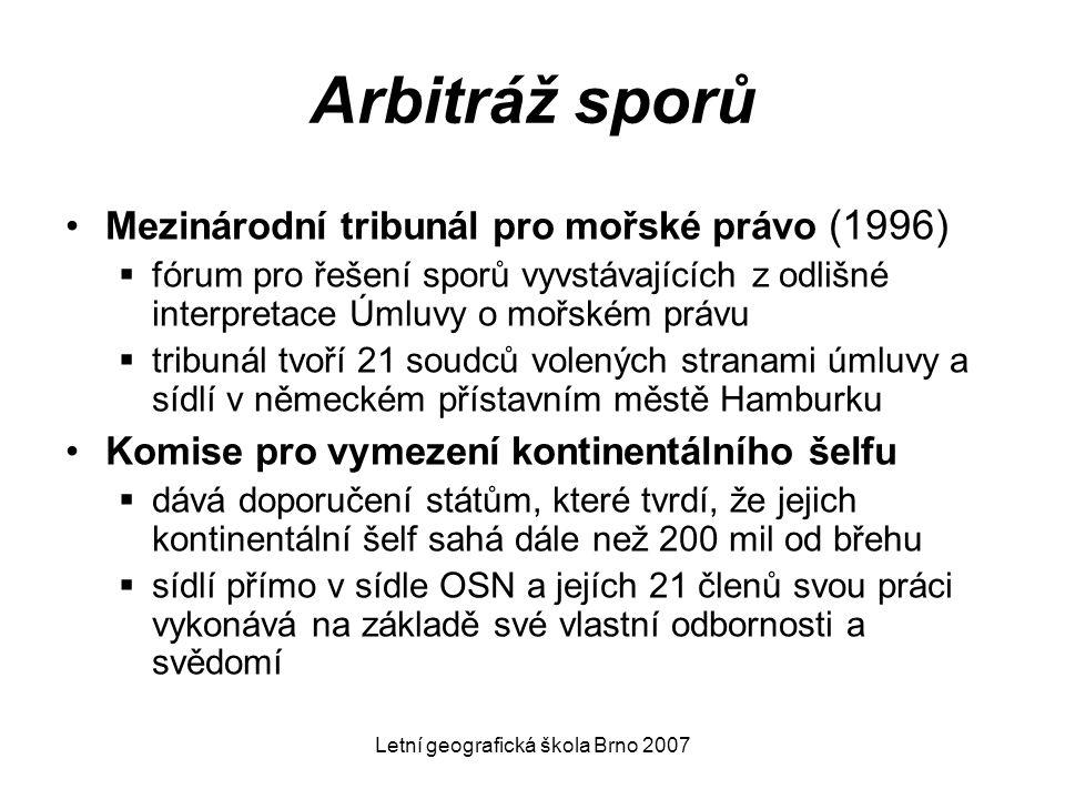 Letní geografická škola Brno 2007 Arbitráž sporů Mezinárodní tribunál pro mořské právo (1996)  fórum pro řešení sporů vyvstávajících z odlišné interp