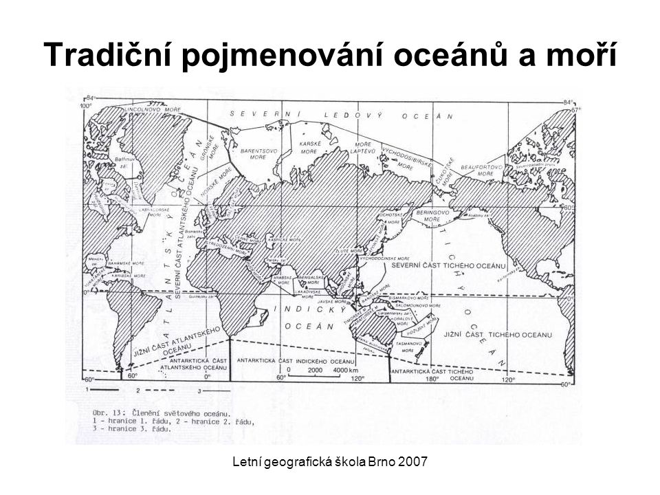 Letní geografická škola Brno 2007 Jurisdikce pobřežních států pevná hranice teritoriálních vod 12 Nm (19 km) výhradní ekonomická zóna (EEZ) do vzdálenosti 200 Nm (370 km) od libovolné pevniny (včetně ostrovů) náležející danému státu  každý pobřežní stát má ve své EEZ zákonnou pravomoc nad nerostným bohatstvím, rybolovem a regulací znečištění pokud kontinentální šelf (definován geologicky) tuto zónu přesahuje,je zóna prodloužena na 350 Nm (648 km) od břehů