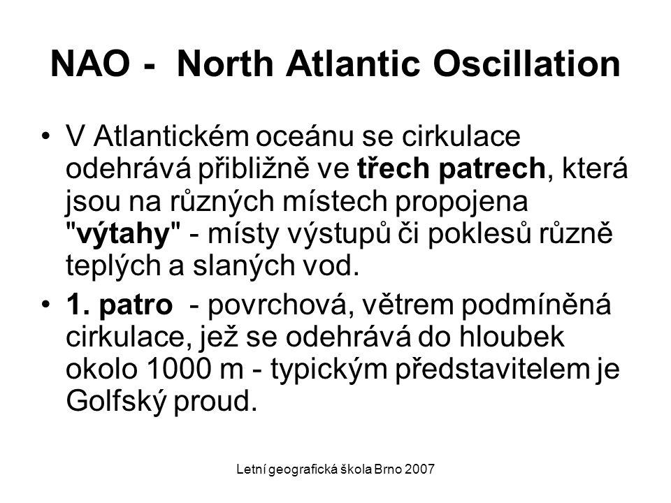 Letní geografická škola Brno 2007 NAO - North Atlantic Oscillation V Atlantickém oceánu se cirkulace odehrává přibližně ve třech patrech, která jsou n