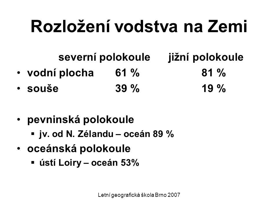 Letní geografická škola Brno 2007 Rozložení vodstva na Zemi severní polokoule jižní polokoule vodní plocha 61 % 81 % souše 39 % 19 % pevninská polokou