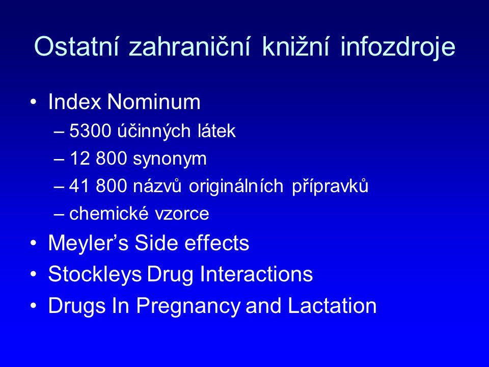 Ostatní zahraniční knižní infozdroje Index Nominum –5300 účinných látek –12 800 synonym –41 800 názvů originálních přípravků –chemické vzorce Meyler's