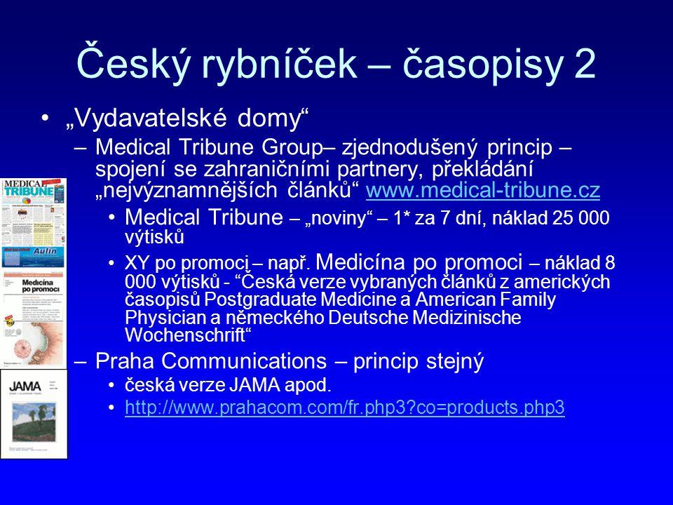 """Český rybníček – časopisy 2 """"Vydavatelské domy"""" –Medical Tribune Group– zjednodušený princip – spojení se zahraničními partnery, překládání """"nejvýznam"""