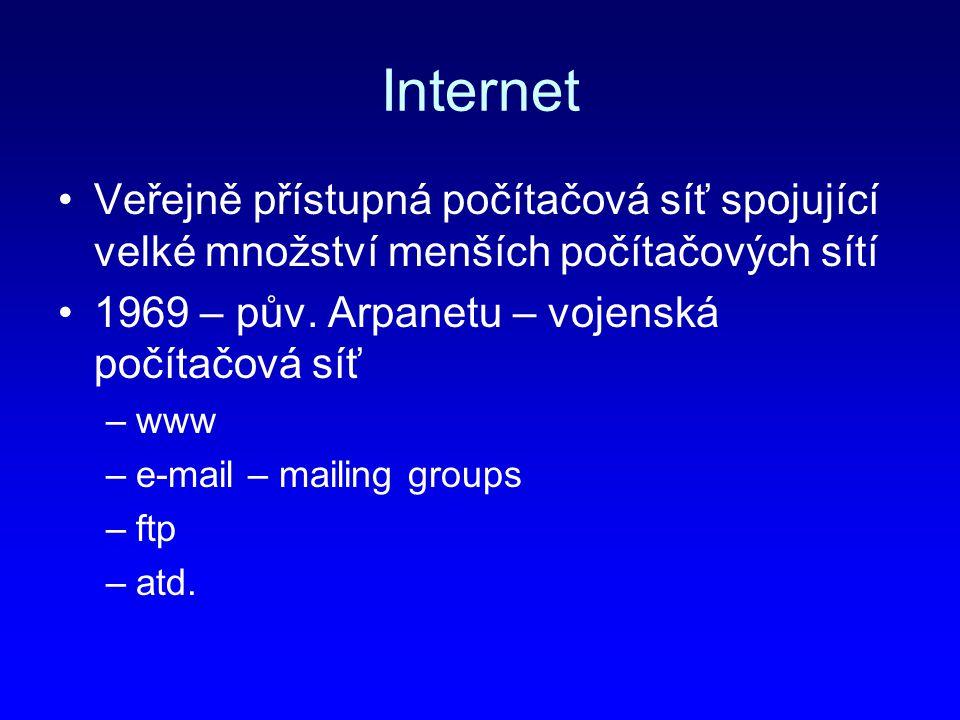 Internet Veřejně přístupná počítačová síť spojující velké množství menších počítačových sítí 1969 – pův. Arpanetu – vojenská počítačová síť –www –e-ma