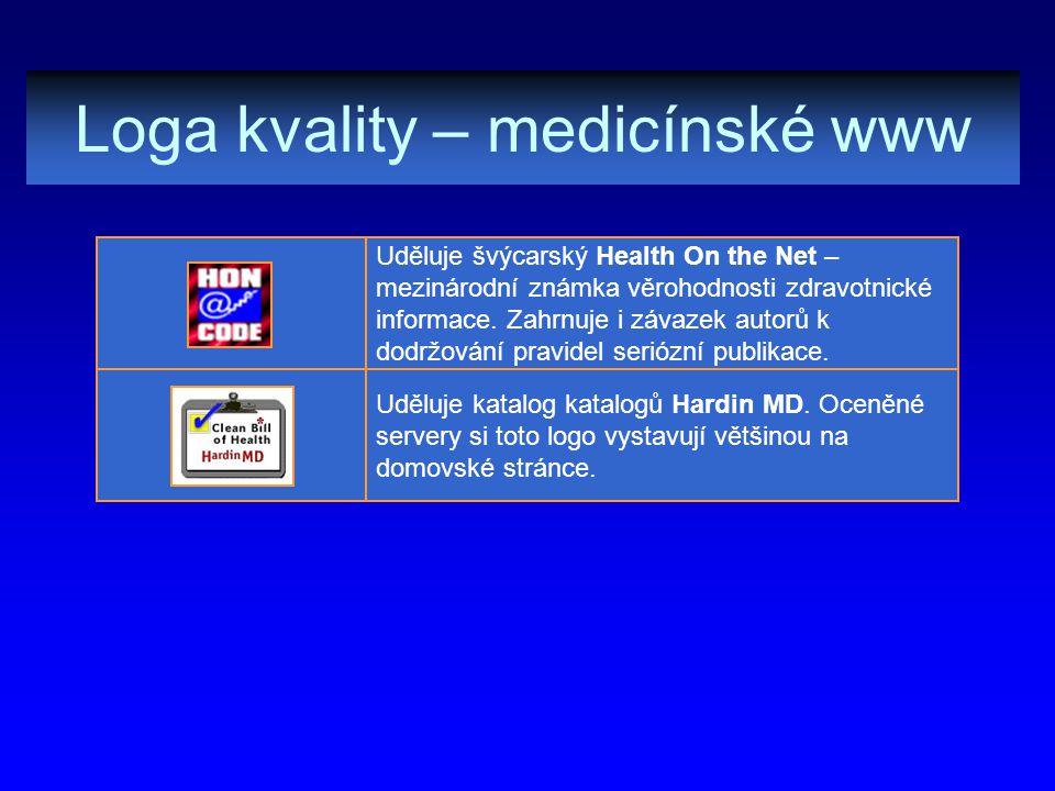Loga kvality – medicínské www Uděluje katalog katalogů Hardin MD. Oceněné servery si toto logo vystavují většinou na domovské stránce. Uděluje švýcars