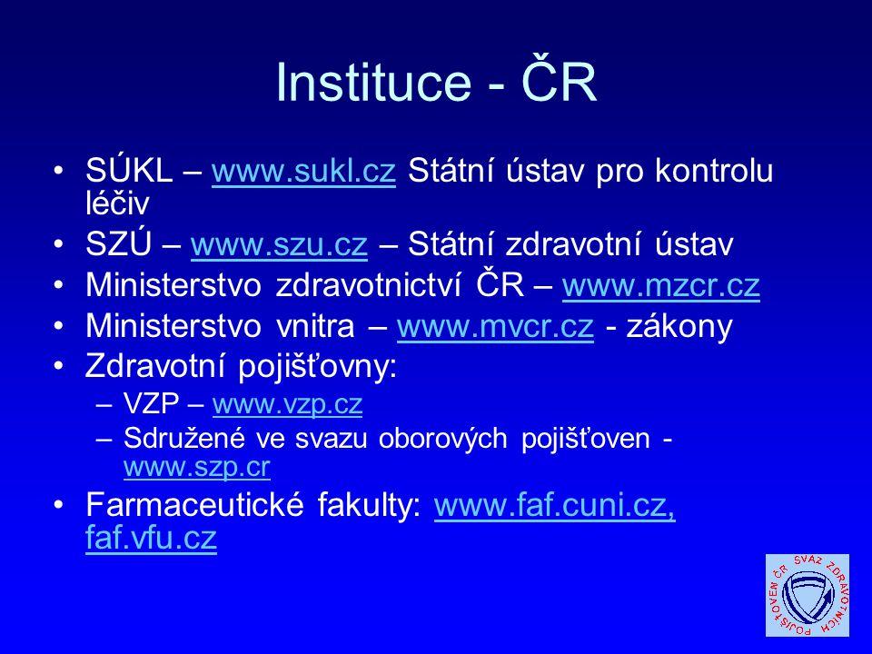 Instituce - ČR SÚKL – www.sukl.cz Státní ústav pro kontrolu léčivwww.sukl.cz SZÚ – www.szu.cz – Státní zdravotní ústavwww.szu.cz Ministerstvo zdravotn