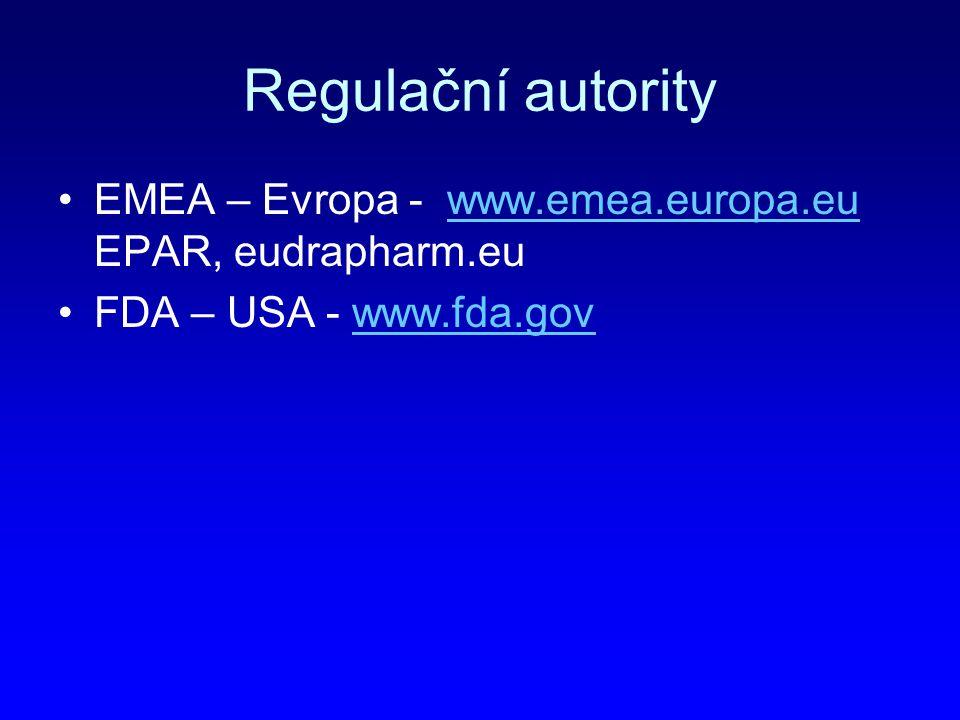 Regulační autority EMEA – Evropa - www.emea.europa.eu EPAR, eudrapharm.euwww.emea.europa.eu FDA – USA - www.fda.govwww.fda.gov
