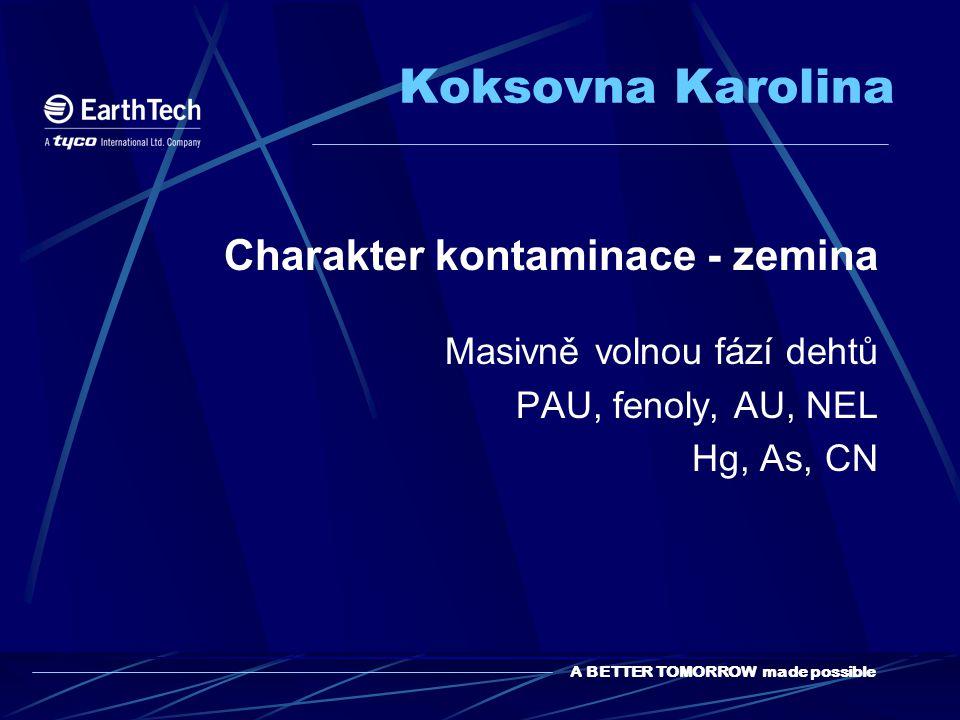 A BETTER TOMORROW made possible Koksovna Karolina Charakter kontaminace - zemina Masivně volnou fází dehtů PAU, fenoly, AU, NEL Hg, As, CN