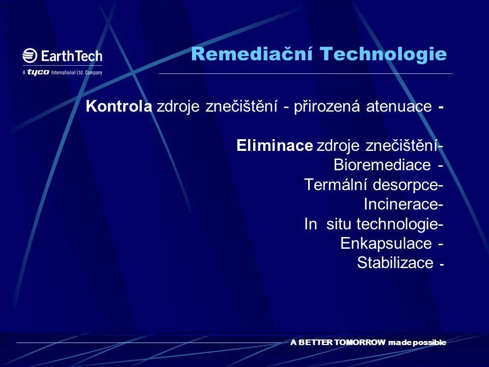A BETTER TOMORROW made possible Remediační Technologie Kontrola zdroje znečištění - přirozená atenuace - Eliminace zdroje znečištění- Bioremediace - Termální desorpce- Incinerace- In situ technologie- Enkapsulace - Stabilizace -