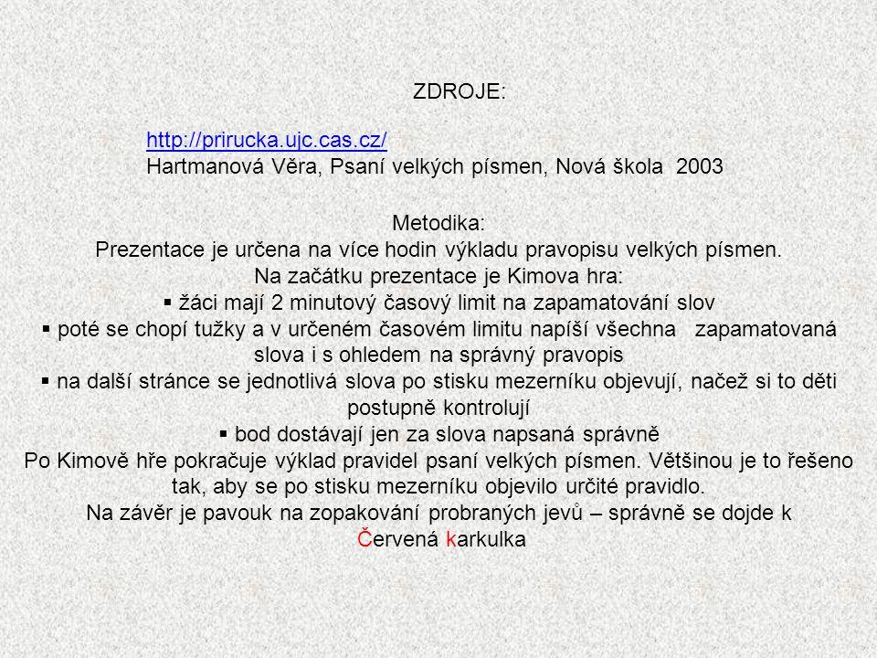 http://prirucka.ujc.cas.cz/ Hartmanová Věra, Psaní velkých písmen, Nová škola 2003 ZDROJE: Metodika: Prezentace je určena na více hodin výkladu pravop