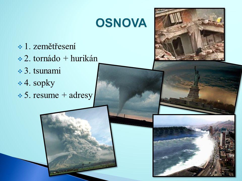  1. zemětřesení  2. tornádo + hurikán  3. tsunami  4. sopky  5. resume + adresy