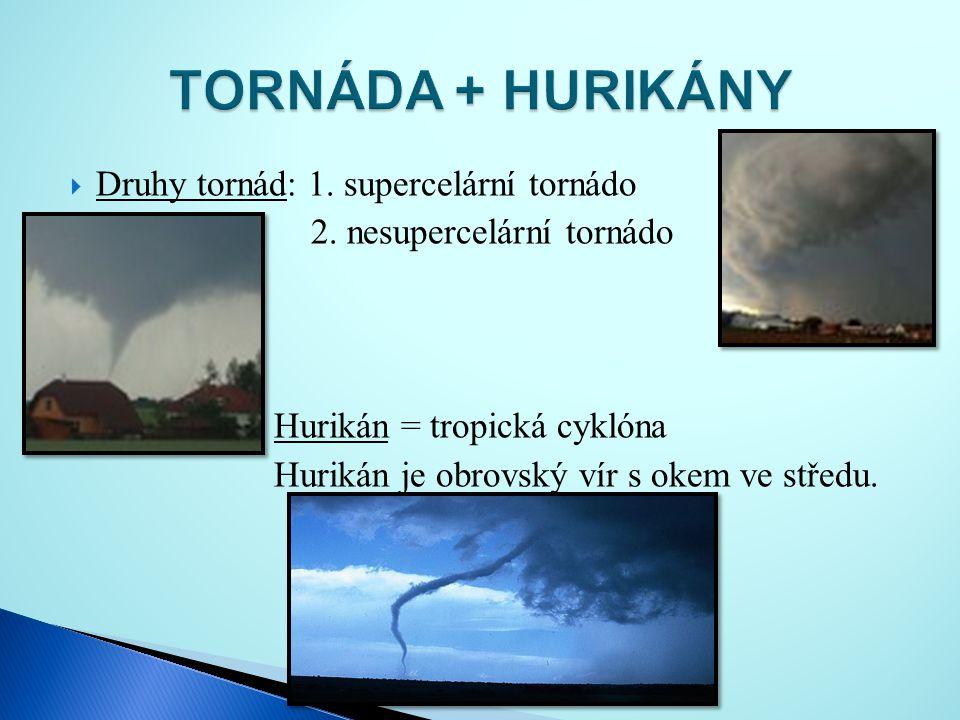  Druhy tornád: 1. supercelární tornádo 2. nesupercelární tornádo Hurikán = tropická cyklóna Hurikán je obrovský vír s okem ve středu.