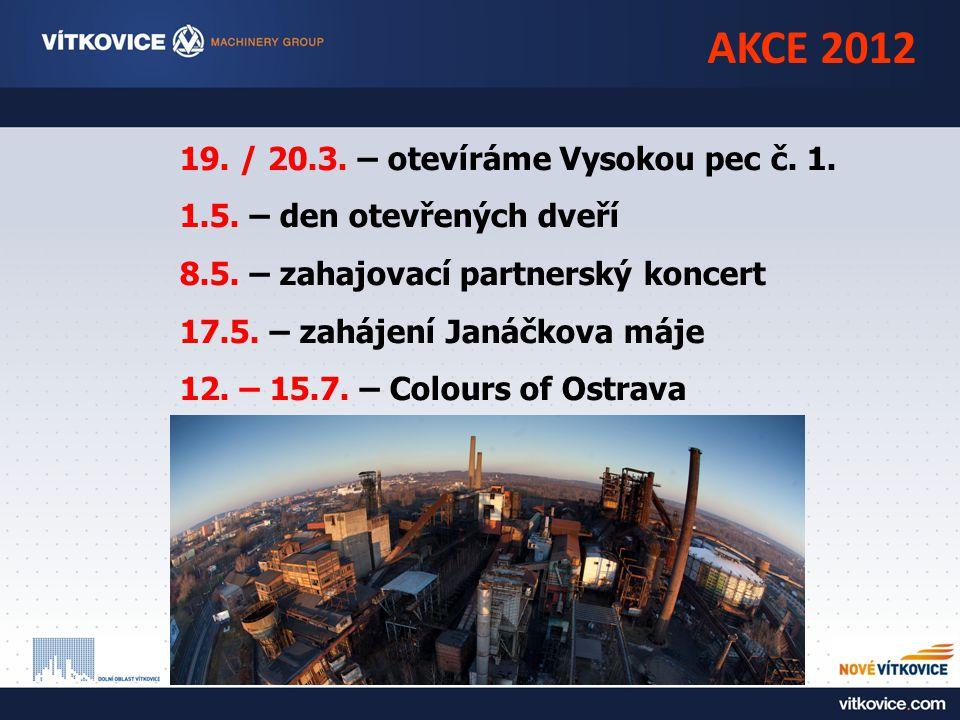 AKCE 2012 19. / 20.3. – otevíráme Vysokou pec č. 1. 1.5. – den otevřených dveří 8.5. – zahajovací partnerský koncert 17.5. – zahájení Janáčkova máje 1