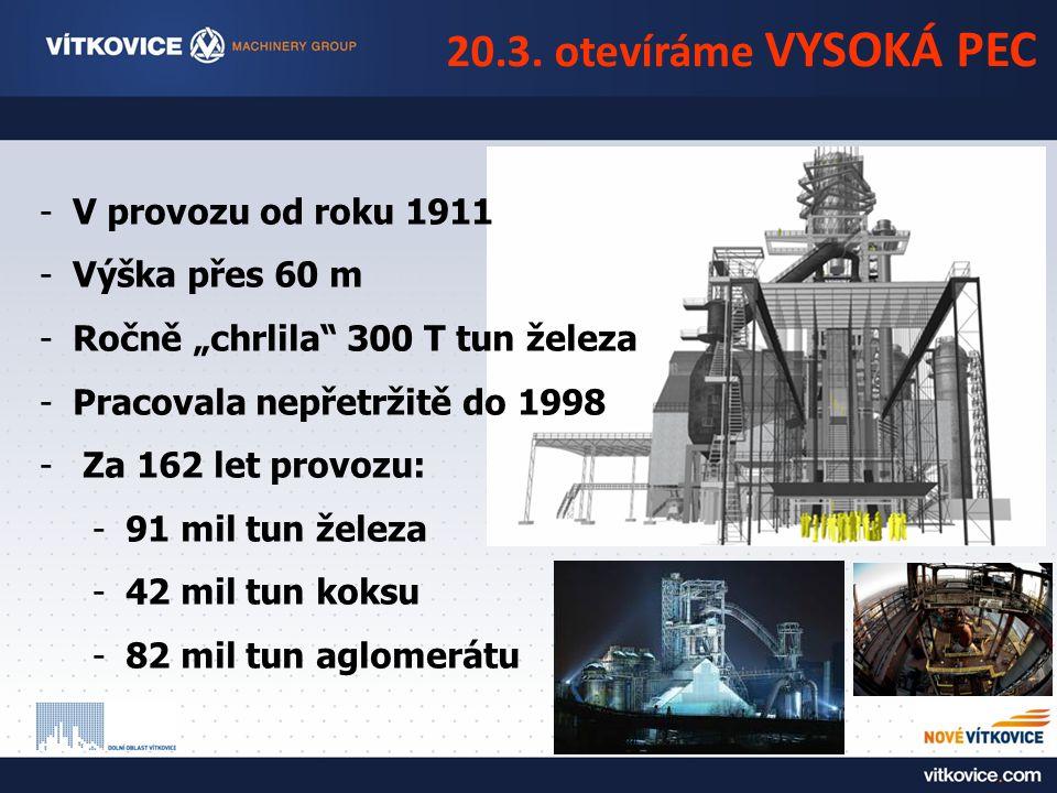 """20.3. otevíráme VYSOKÁ PEC -V provozu od roku 1911 -Výška přes 60 m -Ročně """"chrlila"""" 300 T tun železa -Pracovala nepřetržitě do 1998 - Za 162 let prov"""